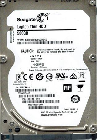 DISCO RIGIDO NOTEBOOK 500GB SEAGATE SATA