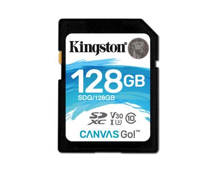 TARJETA DE MEMORIA SD 128GB KINGSTON CANVAS GO! SDXC 90R/45W U3 UHS-I V3.0 4K