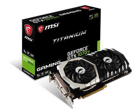PLACA DE VIDEO GF MSI GTX 1070TI TITANIUM 8GB GDDR5 256bit PCIE