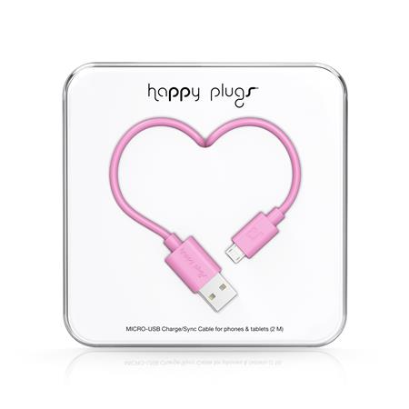 CABLE HAPPY PLUGS USB A MICROUSB 2MTS ANDROID PINK