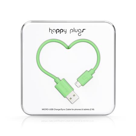 CABLE HAPPY PLUGS USB A MICROUSB 2MTS ANDROID MINT