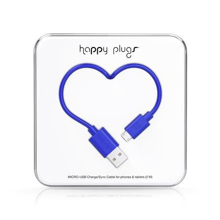 CABLE HAPPY PLUGS USB A MICROUSB 2MTS ANDROID COBALT