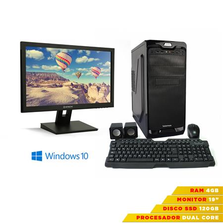 "EQUIPO COMPLETO ECS DUAL CORE RAM 4GB SSD 120GB + MONITOR 19"" + WINDOWS 10 + TEC/MOU/PARL"