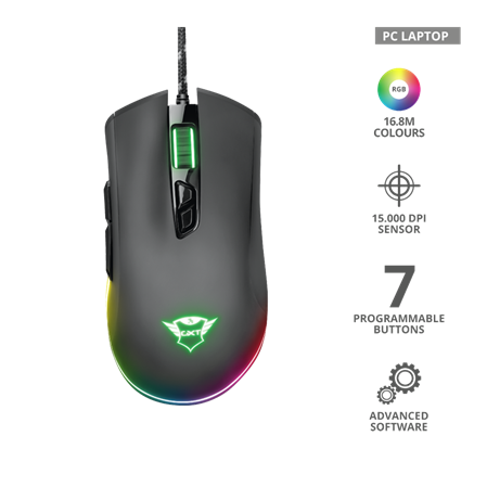 MOUSE TRUST GXT 900 QUDOS RGB GAMER